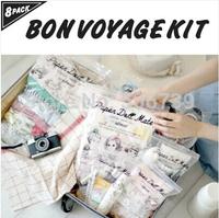 Free Shipping 8pcs/set Korea Style Paper Doll Mate Travel  Packing Organizer Kit,  PVC storage Bags,travel accessories