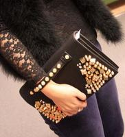 2015 New arrive Black Retro rivet Women handbag Fashion Day Clutch shoulder Messenger bag for female SG006