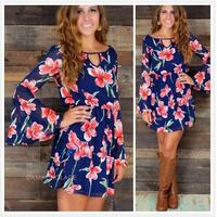 2015  women fashion sexy perspective chiffon big flower printing mini dress flare sleeve  Bohemia plus size S-2XL causal dress