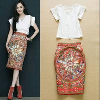 2015 Runway Designer Set Suit Women's Elegant Short Sleeves V-neck White Top + Ethnic Wheel Printed Knee Length Skirt Set
