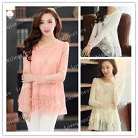 2015 New Plus Size Fashion Style Hollow Out Design Chiffon Middle Long Women Shirt O Neck Long Sleeve Autumn Spring Women Top