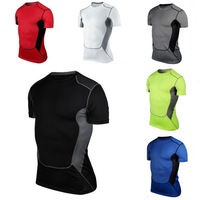 Hot Sales Mens Compression Base Layer Short Sleeve Under Shirt Skin Tight Tops Body Armour
