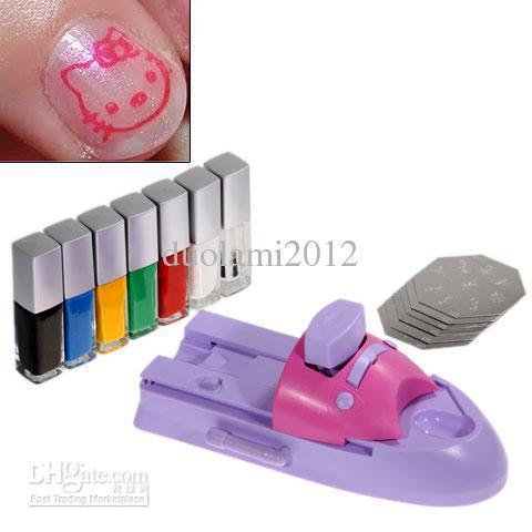 Free shipping!Wholesale - Pretty GCOCL Nail Art Print Colors Stamp Polish DIY Machine(China (Mainland))