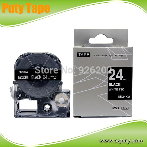 Compatible SD24KW White on Black KINGJIM cassete tape(China (Mainland))