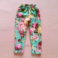 2014 New Hot Baby Girls Winter Fleece Warm Floral Printed Leggings Child Pants Kids Bootcut 3 Color B20 SV009692