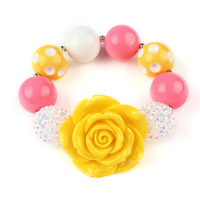10pcs/lot New Arrival Little Girls Bright Yellow Rose Chunky Beads Bracelet Baby Bubblegum Bracelet DIY Kids Jewelry