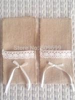 Wholesale Rustic Wedding lace Burlap Silverware Holder Pocket wedding crafts decor Kitchen Cutlery Pocket Knife Fork holder