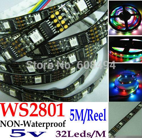 PCB BLACK 5M WS2801 2801IC Digital individule Addressable RGB LED Dream Color Strip 32LEDs/M Pixel DC5V non-Waterproof(China (Mainland))
