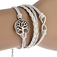 Restore Ancient Popular Multi-strand Leather Cord Wishing Tree Hand-made Woven Vintage White Bracelet Free Shipping