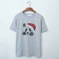 New 2015 Women Summer Dress Oversized T Shirt Dress Panda Print Sequin Top Cute Shirt 0109A