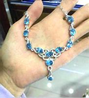 Derongems_Fine Jewelry_Natural Blue Topaz Elegant Wedding/Party Necklaces_S925 Silver Blue Necklaces_Manufacturer Directly Sales