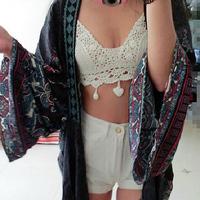 FanShou Free Shipping New 2015 Women Tube Tops Spring Summer Corset Casual Sexy White Lace Crop Top Fashion Crochet Strap Blouse