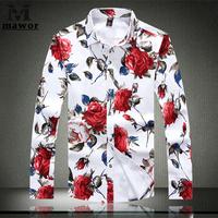 Plus Size 5XL New 2015 Men's Floral Shirts High Quality Long Sleeve Mens Dress Shirt  Casual Men Clothes MC034