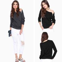 Free Shipping 2014 Women Blouse Spring Autumn Fashion Women Tops Sexy Zipper Slash Neck Women T Shirt Blusas Casual Shirts