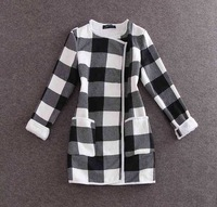 Warm winter thickened wool overcoat, Black and white squares Hooded long sections of woolen coat, ladies fashion brand coat