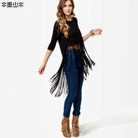 Free shipping European and American women new long sleeve solid SMSS fringed long paragraph Slim cotton round neck T -shirt