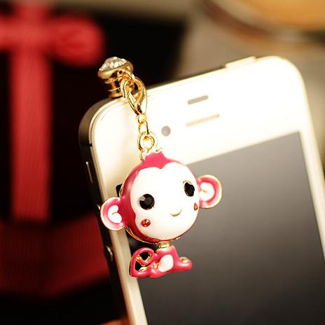 Monkey plug dust High quality New Arrival Smart Fashion 3.5mm Dust Plug for MobilePhone Earphone Free Shipping FHE00049(China (Mainland))