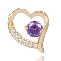 HOT 1PC 18K Gold Filled Purple CZ Cubic Zirconia Pretty Cute Heart Pendant Free shipping