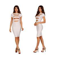 2015 elegant female cutout celebrity midi vestidos fashion women cut out bodycon bandage party club wear sexy dress