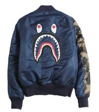2015new best winter rare bape newest hip hop men jacket embroidery shark windbreaker baseball camo pocket outwear badge (China (Mainland))
