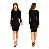 2015 fashion club wear knee length bandage dress elegant women long sleeve waist cut out bodycon party dress