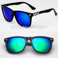 2015 New Wholesale Price Korean Designer Men/women Retro Gun Flowers Sunglasses Square Frame Uv400 Eyeglasses Reflective Mirror