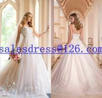 Vestido de noiva 2015 A-Line Wedding Dress Strapless Lace Appliqued Bridal Gown 2015 Vestidos de noiva casamento