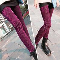 Women Legging Pants New 2015 Spring Tights Leggins Extravagance Pattern Gold Velvet Leggings Nine Points Hollow Lace Flower