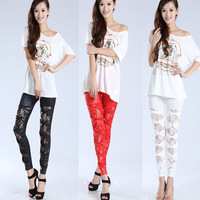 Fashion Faux Leather Leggings Bow-knot Cross Bandage Skinny Pants Hollow Trouser  Free Shipping