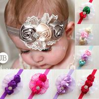 Drop shipping Retail Hair accessories Infant toddler baby girls mix rosette flowers tiaras elastic handband children band