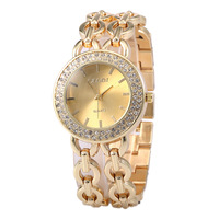 2015 Gold Rhinestone Hot Sales Woman Watches The Clock Women Stainless Steel Quartz Watch Free Shipping