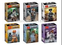6pcs Decool bricks 601-606 Zombie world computer programmer*Sleepyhead/Nurse/Manger/Police/Emmet/ building block brick toys