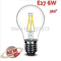 1PCS/LOT  High Power E27 6W 9W 12W 4LED Chips LED Bulb Light Lamps Glass Globe Lamp Edison Filament bulb Warm White 110V-240V