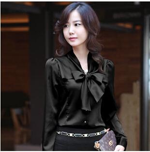 Женщины топы длинный рукав рубашка женщины рабочий галстук-бабочка шифон рубашка сплошной рубашка