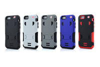 3 in 1 Diamond Dual Color Hybrid Layer Hard Case For iphone 6 4.7 / Plus 5.5 Cover PC+Silicone Stand Rugged Skin Luxury 100pcs