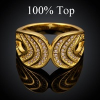 Fashion CZ Crystal CC Ring 18K Rose Gold Plated Women Rings Jewelry