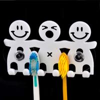 Creative Cute Cartoon Smile Sucker Toothbrush Holder Bathroom Accessories Set Suction Hooks 5 Position Tooth Brush Holder YS1008
