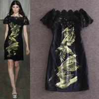 free shipping women's new runway summer 2015 lace patchwork bird print short sleeve boutique dress