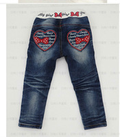 kids New autumn jeans children's jeans pants wholesale of the girls baby girl fashion Bow jeans pants skinny 5pcs/lots