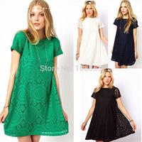 S- XXL XXXL XXXXL Plus Size Women Summer Dress 2015 Short Sleeve Floral Lace Dress Lady Vintage Embroidery Casual Dress P8012
