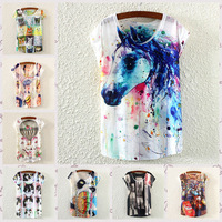 [Amy] wholesale 2015 New Casual Spring Summer Harajuku Clothing Women T Shirt Tops 3D flowers/Lion Print Woman Blouse Tshirt
