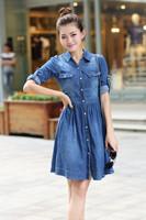 2014 plus size clothing denim one-piece dress slim waist pleated basic water wash denim