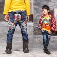 2015 Children Cartoon Jeans Boys Jeans Long Pants B Letter Kids Pants Clothing Free Shipping 5 PCS
