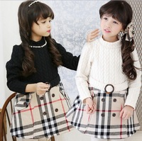Children Dresses Girls New 2015 Grid Long Sleeve Brand Kids Dress Air Cotton Fashion Hot Sale Child Clothes For Spring TR91
