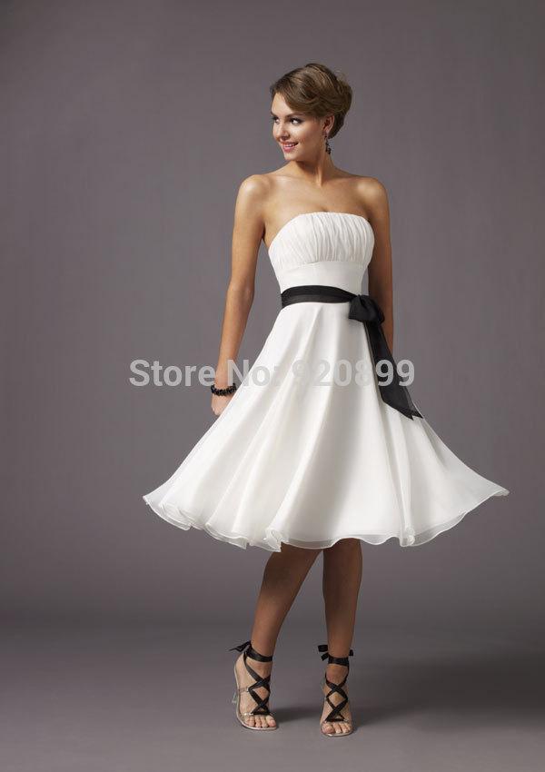 Custom Buy cheap Strapless Plus Size Petite Pleat Mid-Calf Bridal dresses(China (Mainland))