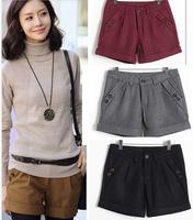 2015 new arrive wool shorts plus size slim woolen short pants for female