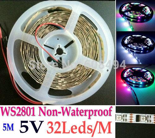 PCB White 5M WS2801 2801IC Digital individule Addressable RGB LED Dream Color Strip 32LEDs/M Pixel DC5V non-Waterproof(China (Mainland))