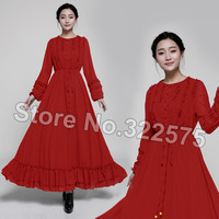 2015 Spring Hot Selling Women New Vintage Retro Ruffles Full Sleeve Royal Blue Floor-length Casual Party Dresses Brief XL SDL183