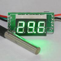 5 PCS/LOT Green LED Thermometer DC12V 24V Digital Temperature Meter -55 to 125 Celsius Degree Temperature Tester