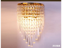 Silver and Gold K9 Crystal wall lamp modern brief ofhead E14 base wall lights bedroom wall light
